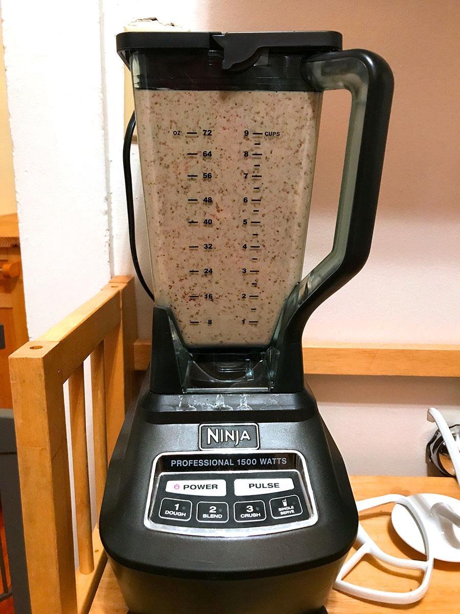 Mixing protein pancake ingredients in the blender